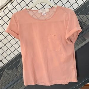 French connection peach pocket tee shirt small
